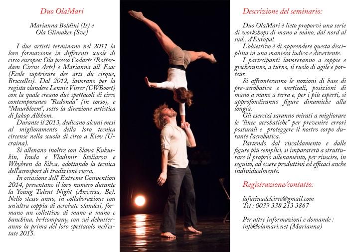 workshop di mano a mano , acroporteur, acrobatica in duo, duo OLAMARI.