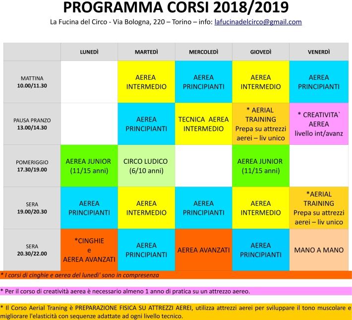 programma corsi 2018 2019, la fucina del circo, torino, acrobatica aerea, tessuto, cerchio, trapezio